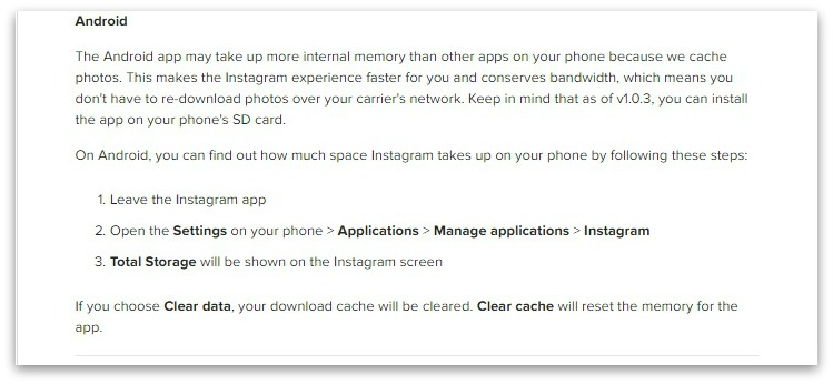 Instagram takes up too much space on my phone. Instagram Help Center