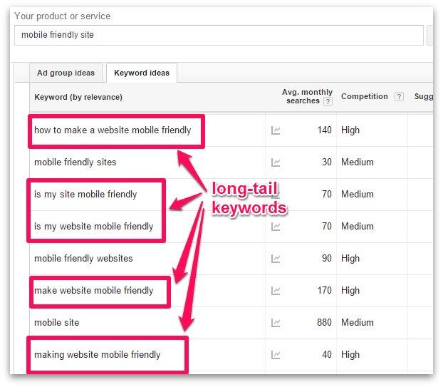 Long Tail Keywords in Google Keyword Planner