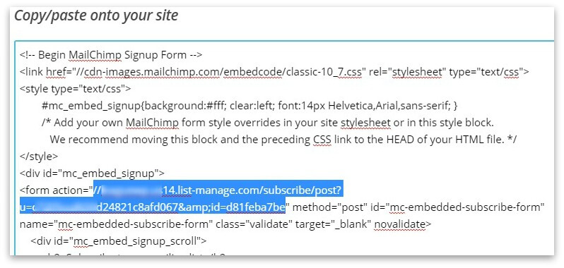 generate-form-action-in-mailchimp