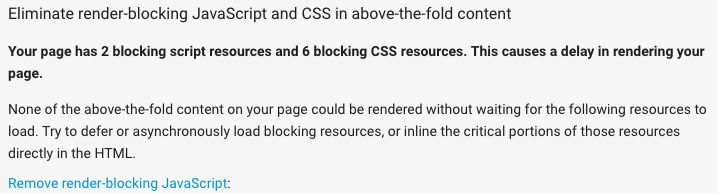 Render Blocking Scripts and CSS Resources